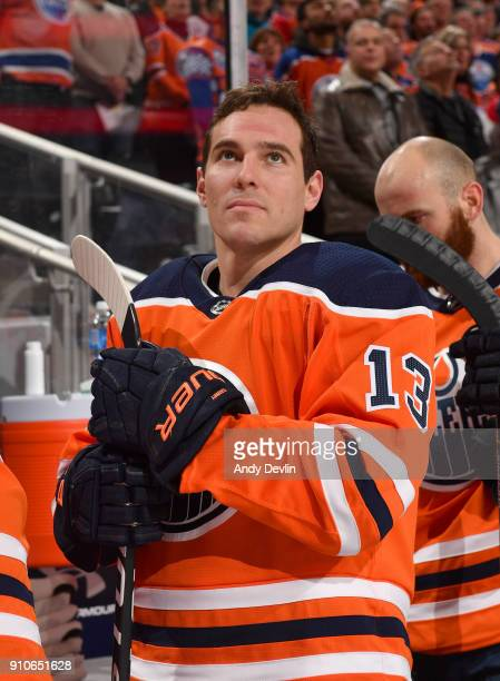 Michael Cammalleri of the Edmonton Oilers stands for the singing of the national anthem prior to the game against the Montreal Canadiens on December...
