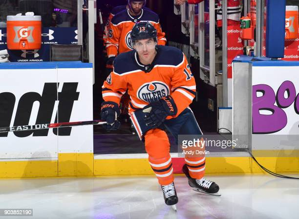 Michael Cammalleri of the Edmonton Oilers steps onto the ice prior to the game against the Chicago Blackhawks on December 29 2017 at Rogers Place in...