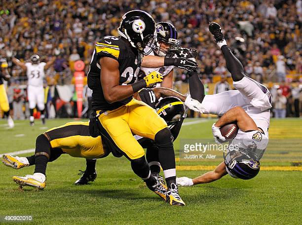 Michael Campanaro of the Baltimore Ravens scores a touchdown in the 1st quarter of the game against the Pittsburgh Steelers at Heinz Field on October...