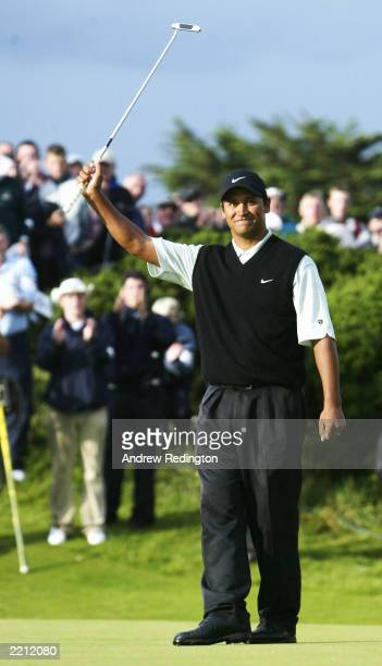 Michael Campbell of New Zealand celebrates his playoff victory over Thomas Bjorn and Peter Hedblom at the Nissan Irish Open on July 27 2003 at...