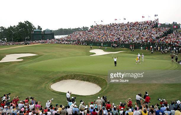 Michael Campbell of New Zealand celebrates his twostroke victory during the final round of the US Open on June 19 2005 at the Pinehurst Resort in...