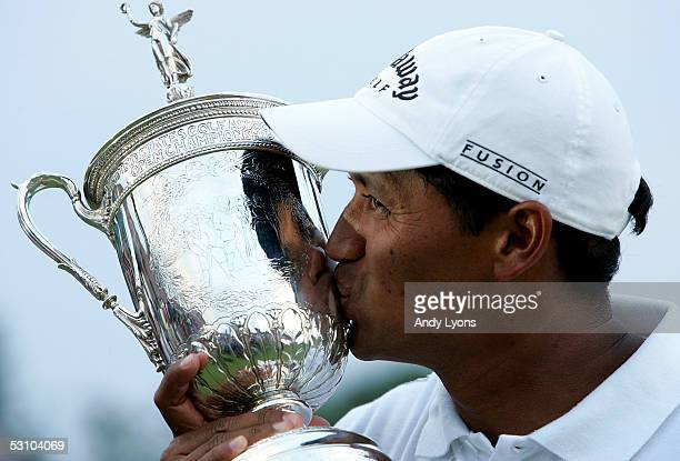Michael Campbell of New Zealand kisses the trophy after his two-stroke victory at the U.S. Open on Pinehurst No. 2 at the Pinehurst Resort on June...