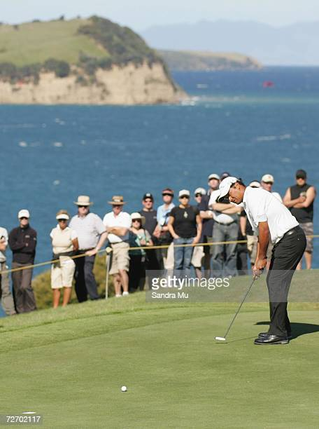 Michael Campbell of New Zealand makes a putt on the 15th hole during round three of the New Zealand Open at Gulf Harbour Country Club on the...