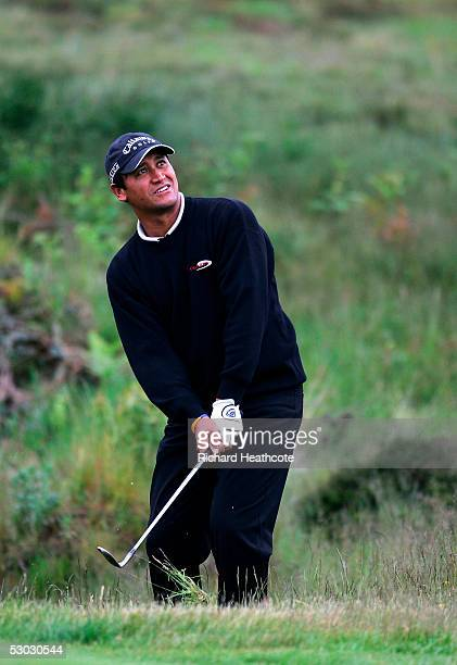 Michael Campbell of New Zealand pitches onto the 14th green during The 2005 US Open Qualifier held at Walton Heath Golf Club on June 6 2005 in...