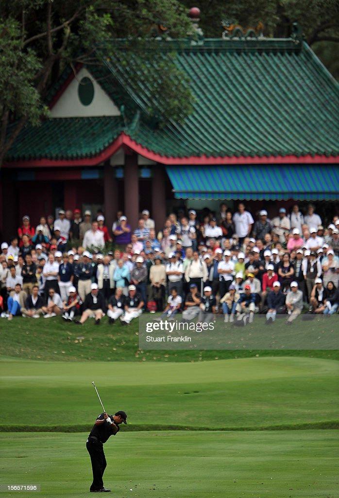 Michael Campbell of New Zealand plays a shot during the third round of the UBS Hong Kong open at The Hong Kong Golf Club on November 17, 2012 in Hong Kong, Hong Kong.