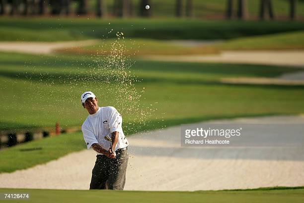 Michael Campbell of New Zealand plays from a bunker on the 11th during the second round of THE PLAYERS on the Stadium Course at the TPC Sawgrass May...
