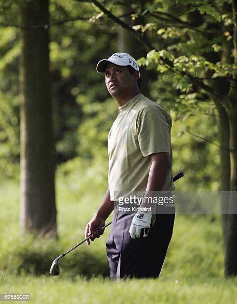 Michael Campbell of New Zealand plays his second shot on the par four 11th hole during the second round of The Quinn Direct British Masters being...