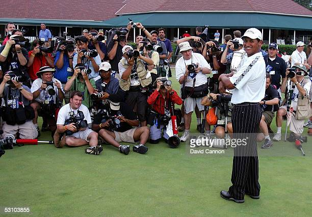 Michael Campbell of New Zealand poses with the trophy for photographers after his twostroke victory at the US Open on Pinehurst No 2 at the Pinehurst...