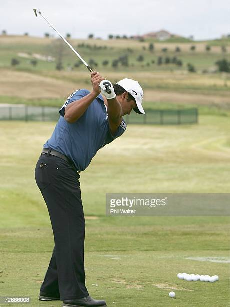 Michael Campbell of New Zealand practices on the driving range during the New Zealand Open Pro Am at the Gulf Harbour Country Club on the Whangaparoa...