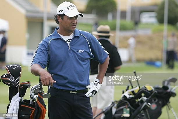 Michael Campbell of New Zealand takes a break on the driving range during the New Zealand Open Pro Am at the Gulf Harbour Country Club on the...