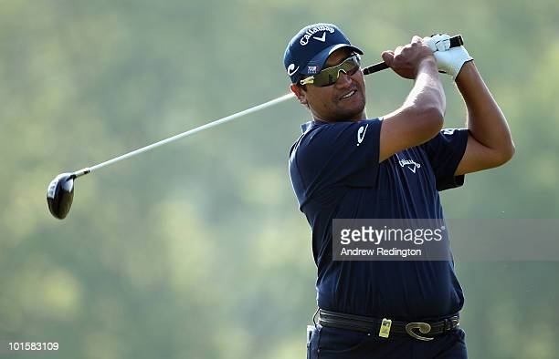 Michael Campbell of New Zealand tees off on the 16th hole during the first round of the Celtic Manor Wales Open on The Twenty Ten Course at The...