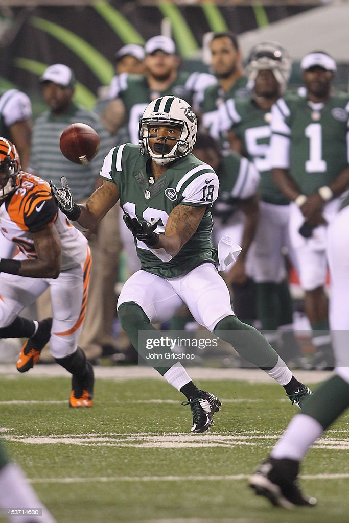 Michael Campbell #18 of the New York Jets hauls in a pass during the game against the Cincinnati Bengals at Paul Brown Stadium on August 16, 2014 in Cincinnati, Ohio. The Jets defeated the Bengals 25-17.