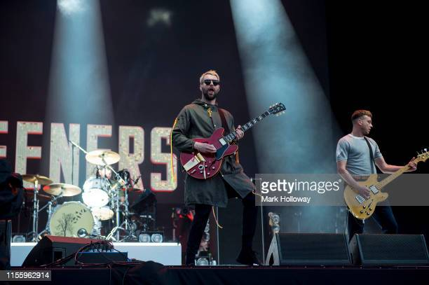 Michael CampbellLiam Fray Daniel Conan Moores of The Courteeners performing onstage during Isle of Wight Festival 2019 at Seaclose Park on June 14...