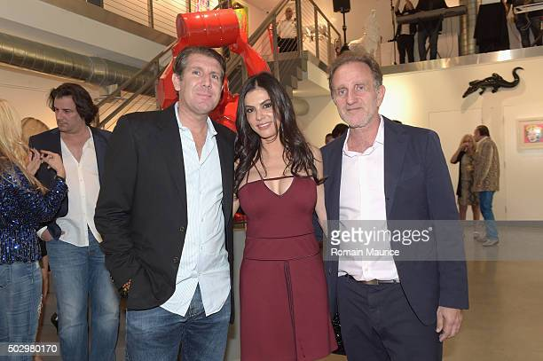 Michael Capponi Adriana de Moura and Bernard Mackowicz attend French Sculptor Richard Orlinski comes to Miami US Opening Party at Markowicz Fine Art...