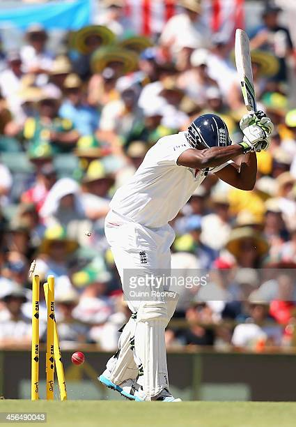 Michael Carberry of England is bowled by Ryan Harris of Australia during day two of the Third Ashes Test Match between Australia and England at WACA...