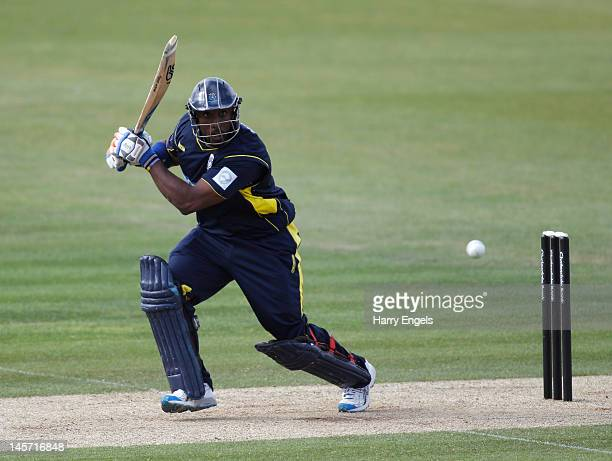 Michael Carberry of Hampshire picks up some runs during the Clydesdale Bank Pro40 match between the Hampshire Royals and the Scottish Saltires on...