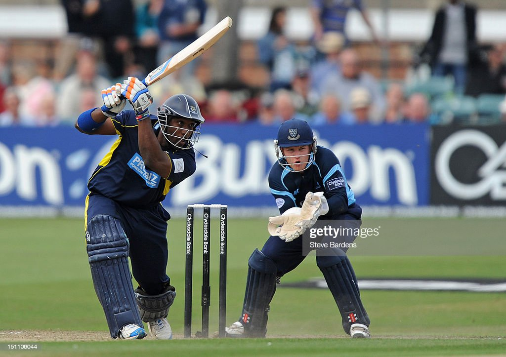 Michael Carberry of Hampshire Royals plays a shot during the Clydesdale Bank Pro40 semi final match between Sussex and Hampshire at the Probiz County Ground on September 1, 2012 in Hove, England.