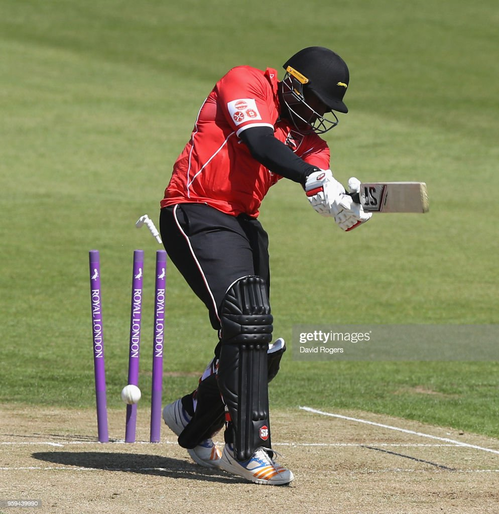 Michael Carberry of Leicestershire is bowled by Luke Procter during the Royal London One-Day Cup match between Northamptonshire and Leicestershire at The County Ground on May 17, 2018 in Northampton, England.
