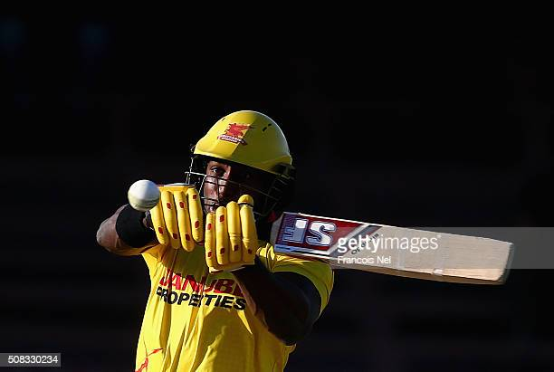 Michael Carberry of Sagittarius Strikers bats during the Oxigen Masters Champions League match between Libra Legends and Sagittarius Strikers at...