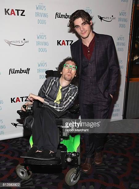 Michael Carnick and RJ MItte attend Premiere Of Katz Agency's Who's Driving Doug at Los Feliz 3 Cinemas on February 26 2016 in Los Angeles California