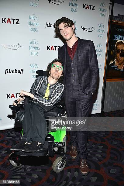 Michael Carnick and RJ Mitte attend the premiere of FilmBuff's Who's Driving Doug at Los Feliz 3 Cinemas on February 26 2016 in Los Angeles California