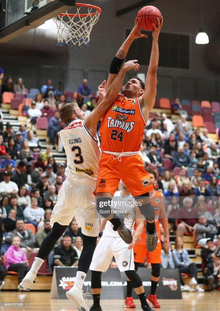 Michael Carrera of the Cairns Taipans drives to the basket during the 2017 NBL Blitz pre-season match between the Cairns Taipans and Brisbane Bullets at Werribee Basketball Stadium on September 9, 2017 in Melbourne, Australia.