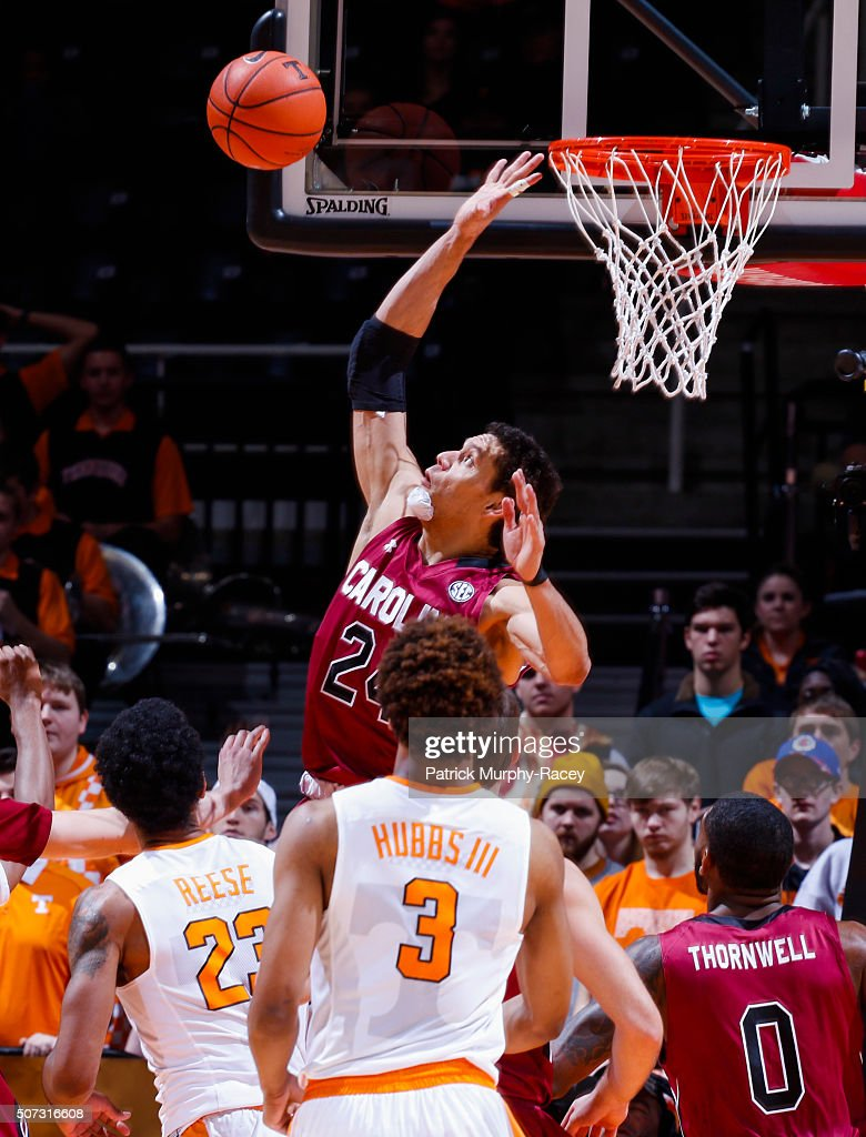 Michael Carrera #24 of the South Carolina Gamecocks swats the ball away from the basket against the Tennessee Volunteers in a game at Thompson-Boling Arena on January 23, 2016 in Knoxville, Tennessee.