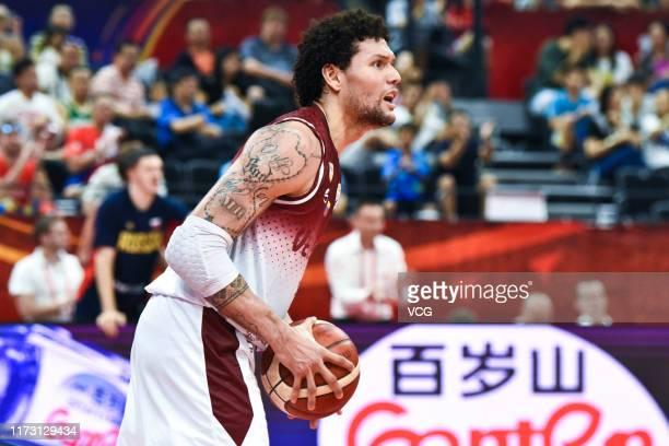 Michael Carrera of Venezuela handles the ball during FIBA World Cup 2019 Group I match between Venezuela and Russia at Foshan International Sports...