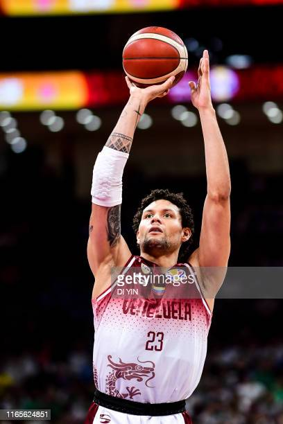 Michael Carrera of Venezuela shoots during the 2nd round Group A march between Venezuela and Cote d'Ivoire of 2019 FIBA World Cup at the Cadillac...