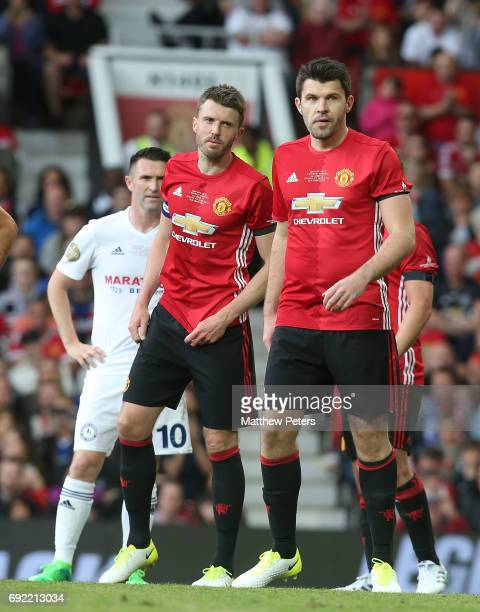 Michael Carrick and Graeme Carrick of Manchester United '08 XI in action during the Michael Carrick Testimonial match between Manchester United '08...