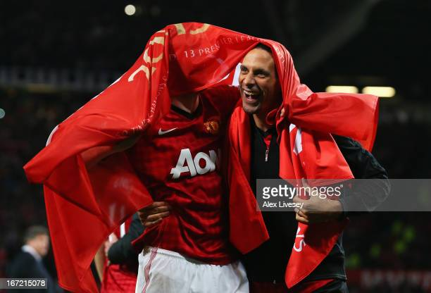 Michael Carrick and Rio Ferdinand of Manchester United celebrate winning the Premier League title after the Barclays Premier League match between...