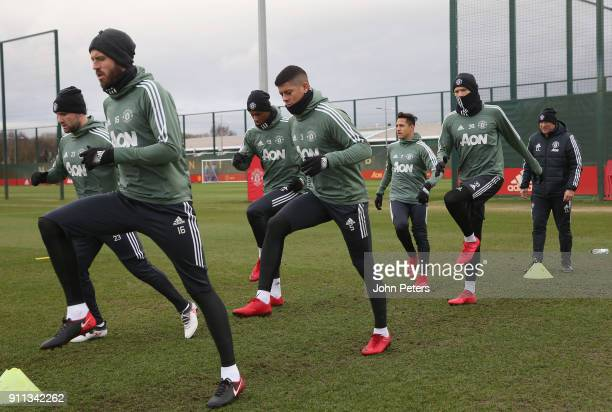 Michael Carrick Marcos Rojo Alexis Sanchez and Scott McTominay of Manchester United in action during a first team training session at Aon Training...