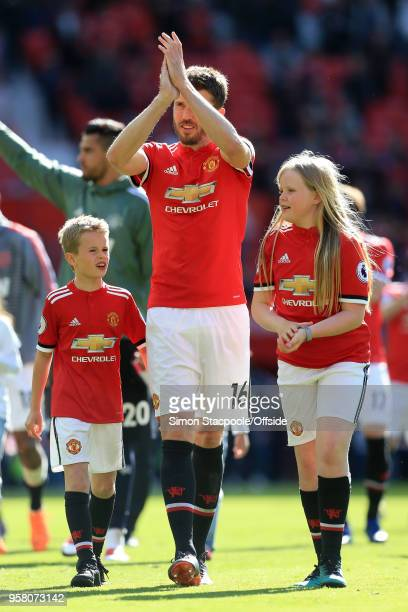 Michael Carrick of Man Utd walks a lap of honour with his children after the Premier League match between Manchester United and Watford at Old...