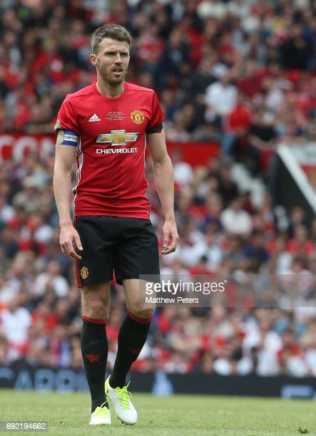 Michael Carrick of Manchester United '08 XI in action during the Michael Carrick Testimonial match between Manchester United '08 XI and Michael...