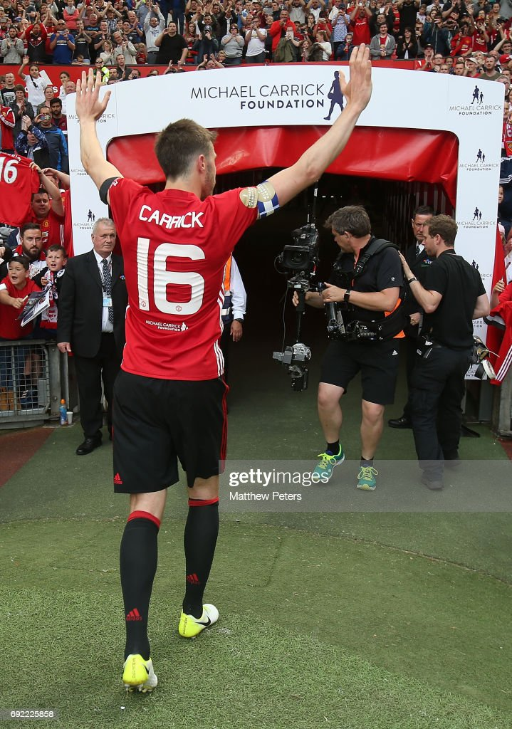 Michael Carrick of Manchester United '08 XI walks off after the Michael Carrick Testimonial match between Manchester United '08 XI and Michael Carrick All-Stars at Old Trafford on June 4, 2017 in Manchester, England.