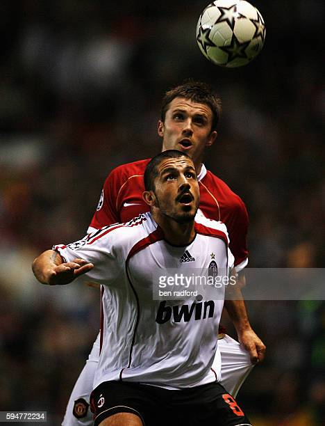 Michael Carrick of Manchester United and Gennar Gattuso of AC Milan during the Champions League SemiFinal First Leg match between Manchester United...
