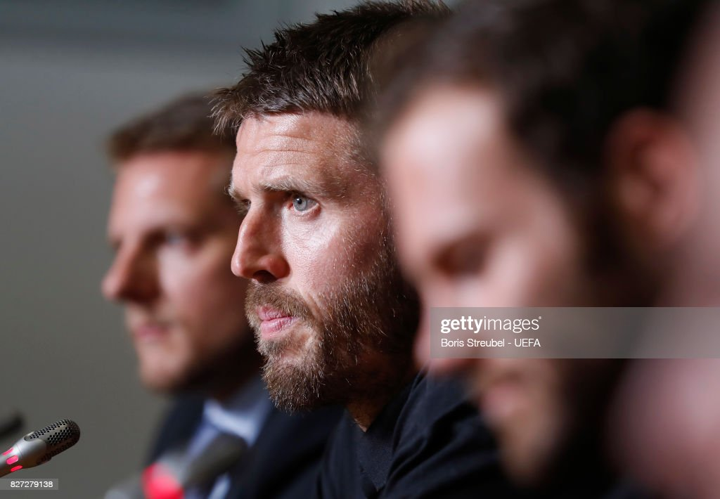 Michael Carrick of Manchester United attends the press conference ahead of the UEFA Super Cup final match between Real Madrid and Manchester United at National Arena Filip II Macedonian on August 8, 2017 in Skopje, Macedonia.