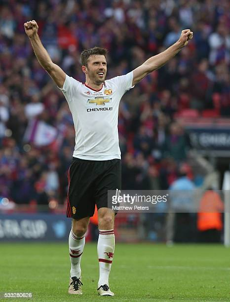 Michael Carrick of Manchester United celebrates after The Emirates FA Cup final match between Manchester United and Crystal Palace at Wembley Stadium...