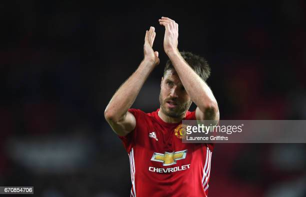 Michael Carrick of Manchester United celebrates after the UEFA Europa League quarter final second leg match between Manchester United and RSC...