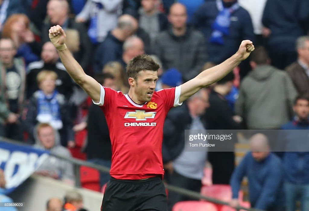 Michael Carrick of Manchester United celebrates at the final whistle of the Emirates FA Cup Semi Final match between Manchester United and Everton at Wembley Stadium on April 23, 2016 in London, England.
