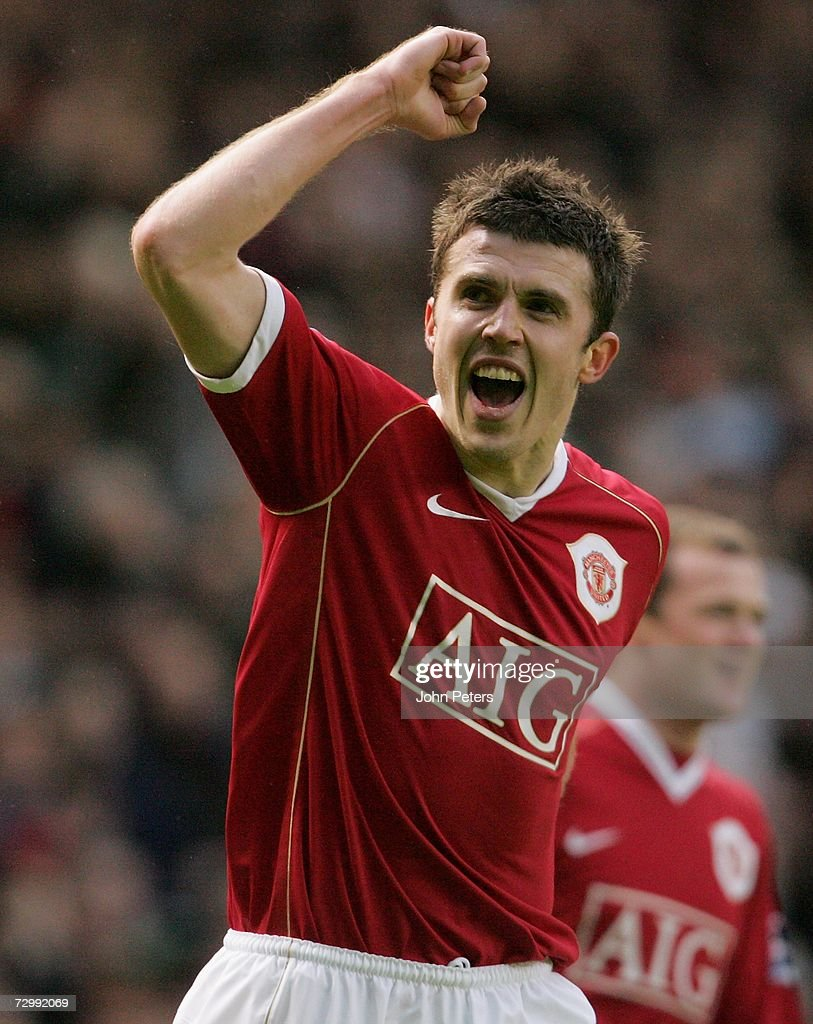 Michael Carrick of Manchester United celebrates scoring the second goal during the Barclays Premiership match between Manchester United and Aston Villa at Old Trafford on January 13 2007 in Manchester, England.