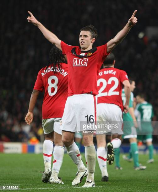 Michael Carrick of Manchester United celebrates scoring their second goal during the UEFA Champions League match between Manchester United and...