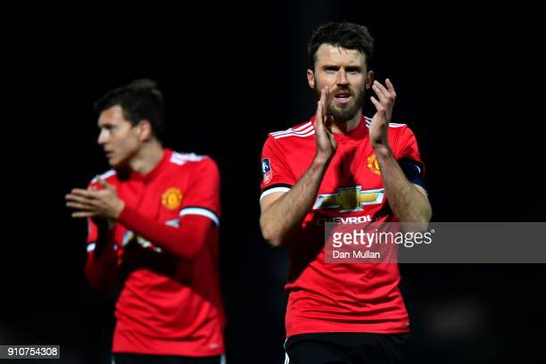 Michael Carrick of Manchester United claps the fans after The Emirates FA Cup Fourth Round match between Yeovil Town and Manchester United at Huish...