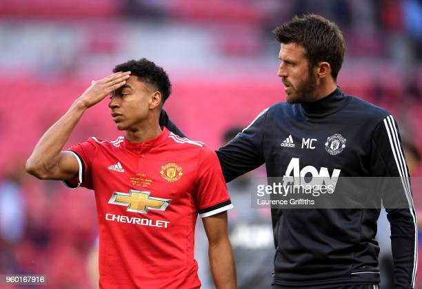 Michael Carrick of Manchester United consoles Jesse Lingard of Manchester United following The Emirates FA Cup Final between Chelsea and Manchester...