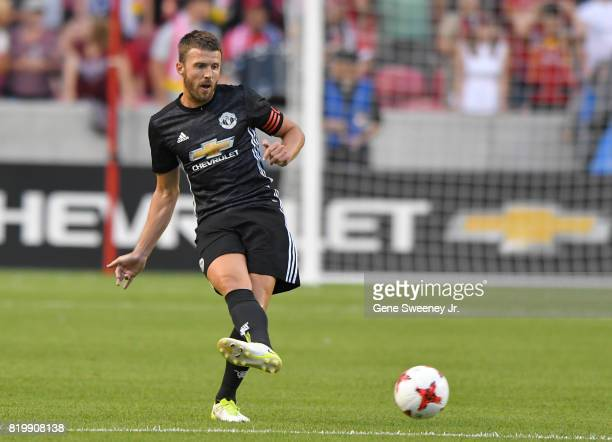 Michael Carrick of Manchester United follows through on a kick during the International friendly game against Real Salt Lake at Rio Tinto Stadium on...