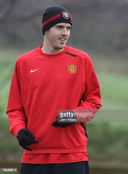 Michael Carrick of Manchester United in action during a First Team Training Session at Carrington Training Ground on November 26 2007 in Manchester...