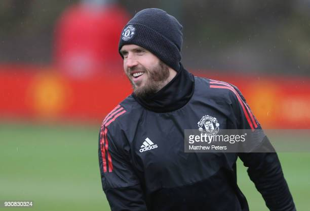 Michael Carrick of Manchester United in action during a first team training session at Aon Training Complex on March 12 2018 in Manchester England