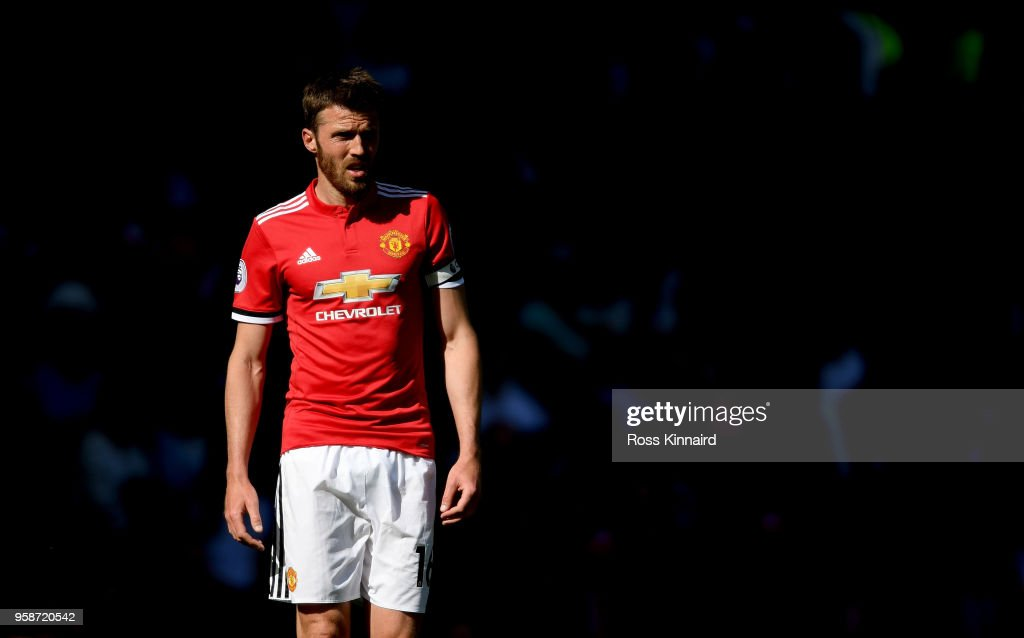 Michael Carrick of Manchester United in action during his final Premier League game for the club during the Premier League match between Manchester United and Watford at Old Trafford on May 13, 2018 in Manchester, England.