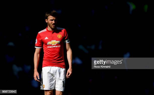 Michael Carrick of Manchester United in action during his final Premier League game for the club during the Premier League match between Manchester...
