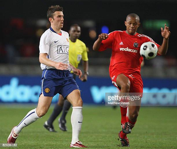 Michael Carrick of Manchester United in action during the Vodacom Challenge preseason friendly match between Orlando Pirates and Manchester United at...
